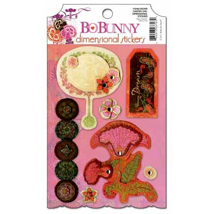 Bo Bunny - Garden Girl Collection - 3 Dimensional Stickers with Glitter and Jewel Accents