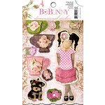 Bo Bunny - Little Miss Collection - 3 Dimensional Stickers with Glitter and Jewel Accents