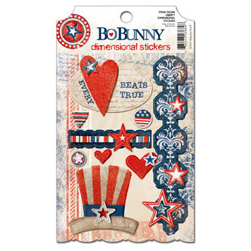 Bo Bunny - Liberty Collection - 3 Dimensional Stickers with Glitter and Jewel Accents