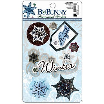 Bo Bunny Press - Midnight Frost Collection - Christmas - Layered Stickers with Glitter and Jewel Accents, BRAND NEW
