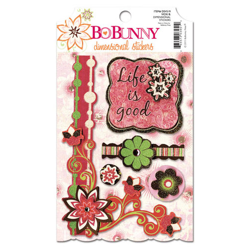 Bo Bunny - Vicki B Collection - 3 Dimensional Stickers with Glitter and Jewel Accents