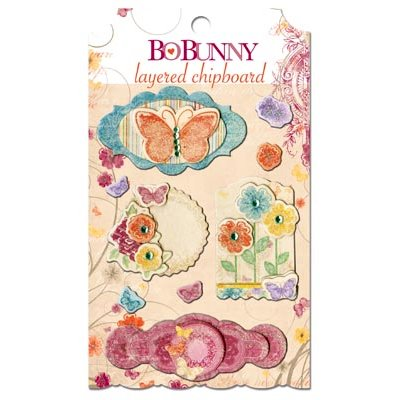 Bo Bunny - Ambrosia Collection - Layered Chipboard Stickers with Glitter and Jewel Accents