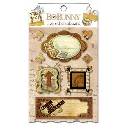 Bo Bunny - Et Cetera Collection - Layered Chipboard Stickers  with Glitter and Jewel Accents
