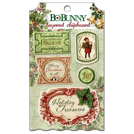 Bo Bunny - Father Christmas Collection - Layered Chipboard Stickers with Glitter and Jewel Accents