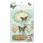 Bo Bunny - Gabrielle Collection - Layered Chipboard Stickers with Glitter and Jewel Accents