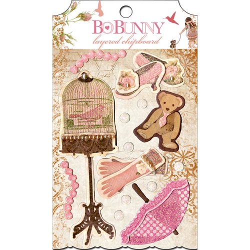 Bo Bunny - Little Miss Collection - Layered Chipboard Stickers with Glitter and Jewel Accents