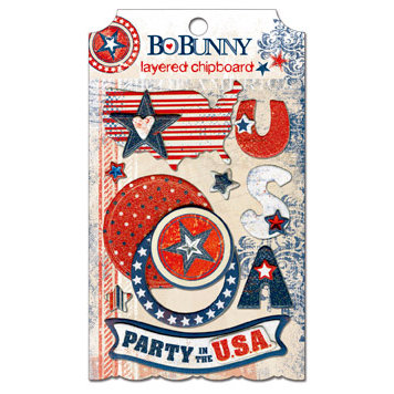 Bo Bunny Press - Liberty Collection - Layered Chipboard Stickers with Glitter and Jewel Accents