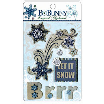 Bo Bunny Press - Midnight Frost Collection - Christmas - Layered Chipboard Stickers with Glitter and Jewel Accents, BRAND NEW