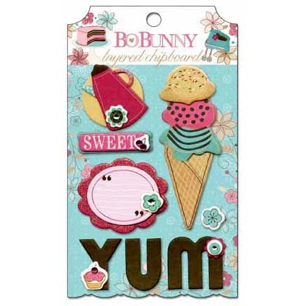 Bo Bunny - Sweet Tooth Collection - Layered Chipboard Stickers with Glitter and Jewel Accents