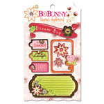 Bo Bunny Press - Vicki B Collection - Layered Chipboard Stickers with Glitter and Jewel Accents