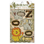 Bo Bunny Press - Zoology Collection - Layered Chipboard Stickers with Glitter and Jewel Accents