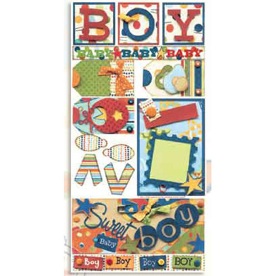 Bo Bunny Press - Shabby Princess - Star Struck Collection - Cardstock Stickers - Sweet Baby Boy