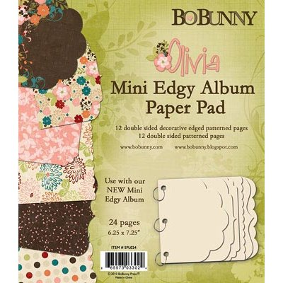 Bo Bunny Press - Olivia Collection - Mini Edgy Album Paper and Die Cut Pad - 6.25 x 7.25