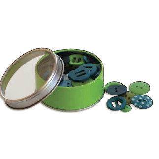 Bo Bunny Press - All Stuck Up - Magnetic Storage Container - Buttons - Apple Green