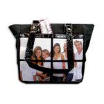 Braggables - Micro and Wet Croco Collection - 4 Window Shoulder Bag - Black