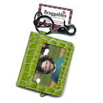 Braggables - Wet Croco Collection - Photo Card Case and Key Ring - Kiwi