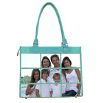 Braggables - Micro and Wet Croco Collection - 9 Window Large Tote - Aqua