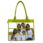 Braggables - Micro and Wet Croco Collection - 9 Window Large Tote - Kiwi, CLEARANCE