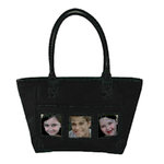 Braggables - Micro and Wet Croco Collection - 3 Window Medium Tote - Black
