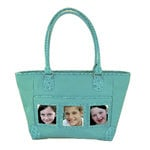 Braggables - Micro and Wet Croco Collection - 3 Window Medium Tote - Aqua