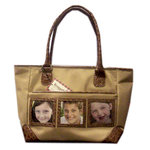 Braggables - Micro and Wet Croco Collection - 3 Window Medium Tote - Khaki