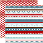 Carta Bella Paper - All Bundled Up Collection - Christmas - 12 x 12 Double Sided Paper - Winter Stripe