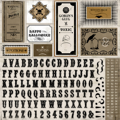 Carta Bella Paper - All Hallow's Eve Collection - Halloween - 12 x 12 Cardstock Stickers - Alphabet