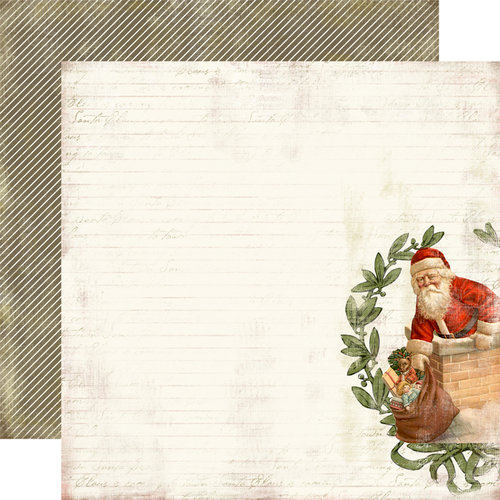 Carta Bella Paper - Christmas Day Collection - 12 x 12 Double Sided Paper - Down the Chimney