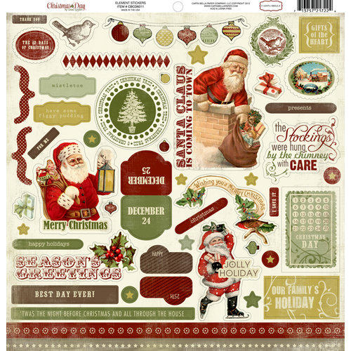 Carta Bella Paper - Christmas Day Collection - 12 x 12 Cardstock Stickers - Elements