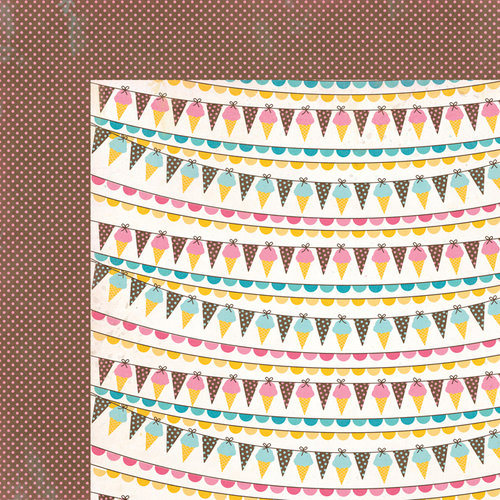 Carta Bella Paper - Cool Summer Collection - 12 x 12 Double Sided Paper - Ice Cream Banner