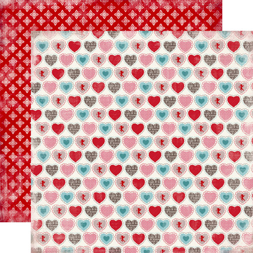 Carta Bella Paper - Devoted Collection - 12 x 12 Double Sided Paper - Devoted Heart