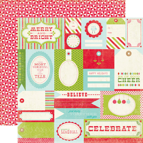 Carta Bella Paper - Merry and Bright Collection - Christmas - 12 x 12 Double Sided Paper - Merry Tags