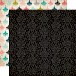 Carta Bella Paper - Moments and Memories Collection - 12 x 12 Double Sided Paper - Black Damask