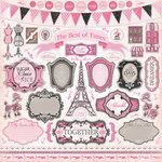 Carta Bella Paper - Paris Girl Collection - 12 x 12 Cardstock Stickers - Elements