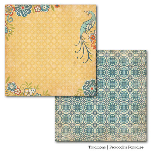 Carta Bella Paper - Traditions Collection - 12 x 12 Double Sided Paper - Peacock's Paradise
