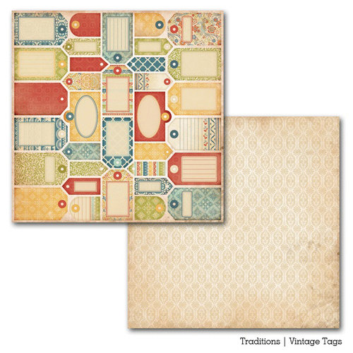 Carta Bella Paper - Traditions Collection - 12 x 12 Double Sided Paper - Vintage Tags