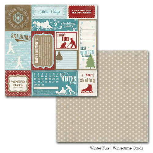 Carta Bella Paper - Winter Fun Collection - 12 x 12 Double Sided Paper - Wintertime Cards