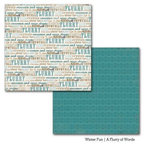 Carta Bella Paper - Winter Fun Collection - 12 x 12 Double Sided Paper - A Flurry of Words