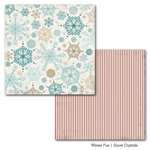 Carta Bella Paper - Winter Fun Collection - 12 x 12 Double Sided Paper - Snow Crystals