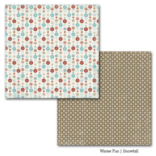 Carta Bella Paper - Winter Fun Collection - 12 x 12 Double Sided Paper - Snowfall