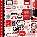 Carta Bella Paper - Words of Love Collection - 12 x 12 Cardstock Stickers - Elements