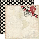 Carta Bella Paper - Well Traveled Collection - 12 x 12 Double Sided Paper - World Traveler