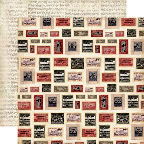 Carta Bella Paper - Well Traveled Collection - 12 x 12 Double Sided Paper - Postage