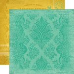 Carta Bella Paper - Yesterday Collection - 12 x 12 Double Sided Paper - Teal Damask