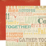 Carta Bella - Fall Blessings Collection - 12 x 12 Double Sided Paper - Cross Stitching