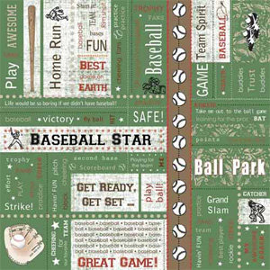 Carolee's Creations - Adornit - Baseball Collection - 12 x 12 Paper - Baseball Block