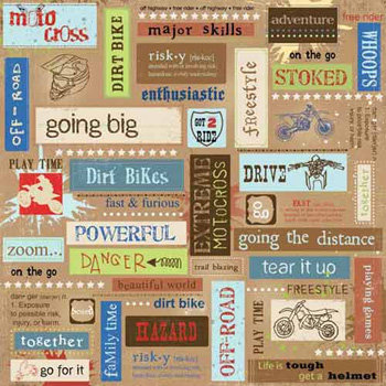Carolee's Creations - Adornit - Dirt Biking Collection - 12 x 12 Paper - Motocross Block