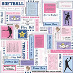 Carolee's Creations - Adornit - Softball Collection - 12x12 Paper - Softball Block