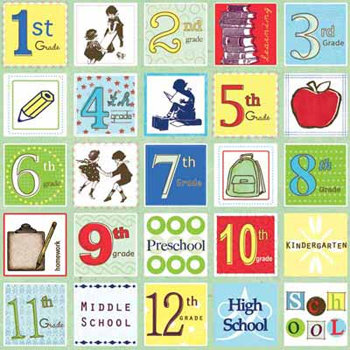 Carolee's Creations Adornit - School Academy Collection - 12 x 12 Paper - Academic Squares