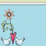 Carolee's Creations - Adornit - Nancy Jane Collection - 12 x 12 Paper - Tweet Birdie Swirls